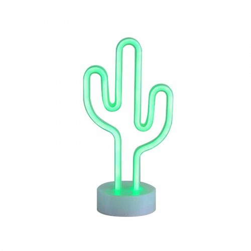 COZY  LEDไฟนีออนรูปกระบองเพชร ขนาด 14.6×29.5×8.5 ซม. ST-02 สีเขียว