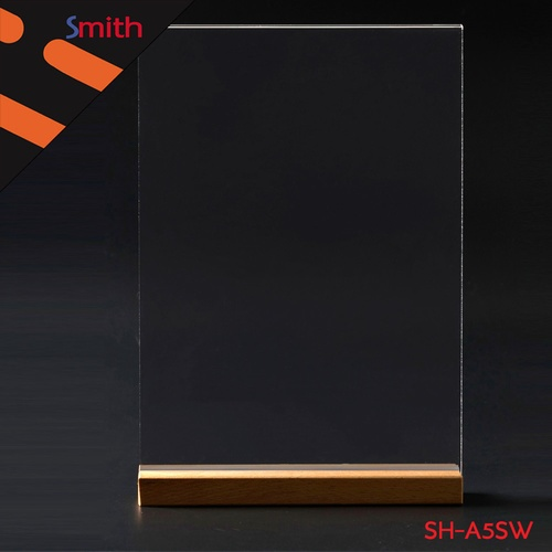 SMITH ป้ายอะคริลิคฐานไม้ A5 แนวตั้ง ขนาด 15x21cm SH-A5SW