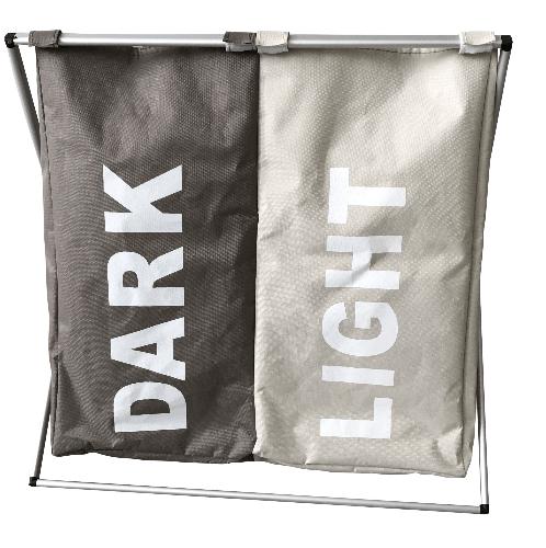 SAKU ถุงใส่ผ้า ขนาด 38x59x57 ซม. สีเทา-เบจ ZHT017