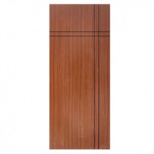 Wellingtan ประตู WPC บานทึบเซาะร่องดำ 80x200ซม. สีไม้สัก (ไม่เจาะ) WPC-04