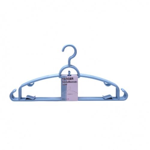 SAKU ไม้แขวนเสื้อพลาสติก ขนาด 39.5x19.5x0.6ซม.  GDH001-BL   5ชิ้น/แพ็ค สีฟ้า