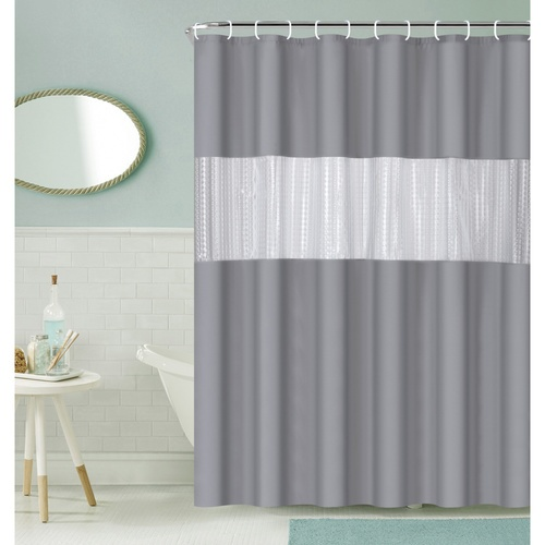 Primo ผ้าม่านห้องน้ำ PEVA ขนาด 180x200 ซม.  EDJJ09-GY สีเทา