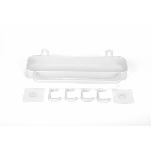 KOJI ชั้นวางพร้อมตะขอติดผนัง ขนาด 12x31.5x8 cm. 2EXC008-WH  สีขาว