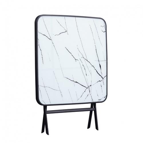 TABIO โต๊ะพับอเนกประสงค์หน้ากระจกทรงสี่เหลี่ยม  ขนาด 80*80*75 ซม. สีขาว ลายหินอ่อน Glaze Marble สีขาว