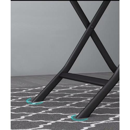 TABIO โต๊ะพับอเนกประสงค์หน้ากระจกทรงกลม ขนาด 60*60*75 ซม. สีดำ Glaze Black สีดำ