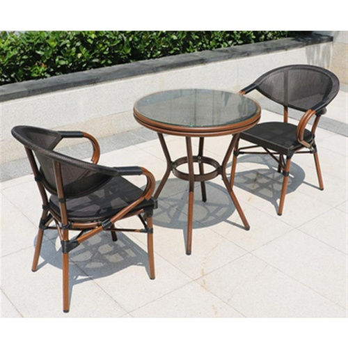 Pulito ชุดโต๊ะสนามหน้ากระจก (70x74ซม.) พร้อมเก้าอี้สนาม 2ตัว Brunon