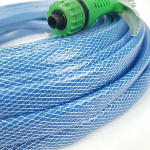 Tree O ชุดสายยาง PVC  ใสถัก 1/2 นิ้ว พร้อมหัวฉีด ยาว 20 เมตร PQS-PC20 สีฟ้า