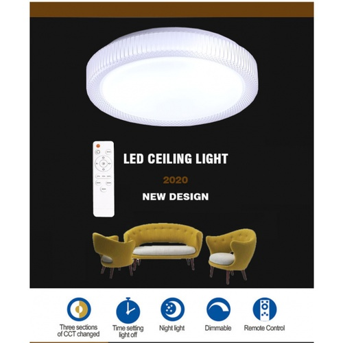 EILON  โคมไฟเพดาน LED ปรับแสงได้ ขนาด 24W   (พร้อมรีโมท) Minerly-400 สีขาว