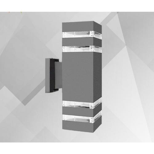EILON โคมไฟติดผนัง ภายนอก ทรงกระบอกเหลี่ยมพรีเมี่ยม MVW003G สีเทา