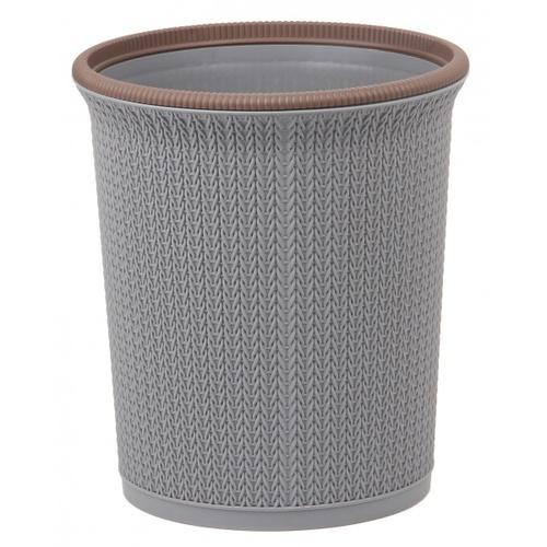 ICLEAN ถังขยะกลมลายถัก 10ลิตร ขนาด 25.5x25.5x28.8 ซม.   TG51279 สีเทา ขอบน้ำตาล