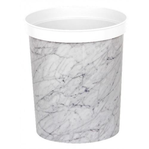 ICLEAN ถังขยะกลม ขนาด 9 ลิตร  ลายหินอ่อนสีขาว TG59712