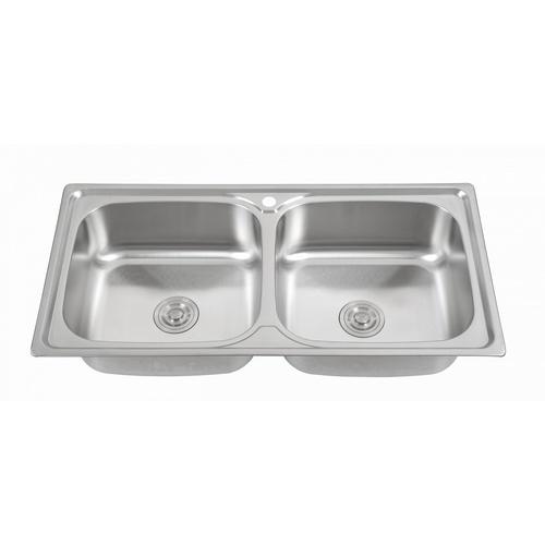 CROWN อ่างล้างจาน 2 หลุมไม่มีที่พัก ขนาด 100x50x22.5ซม.  SG10050B1