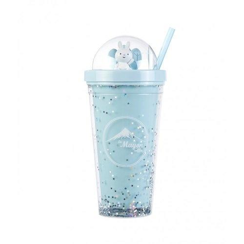 LAMAYON แก้วน้ำพร้อมหลอด Shiny CP05 550ML สีน้ำเงิน