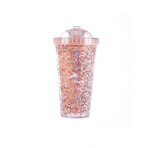 LAMAYON แก้วน้ำแข็งพลาสติก Shiny ขนาด  550ML  CP13 สีชมพู