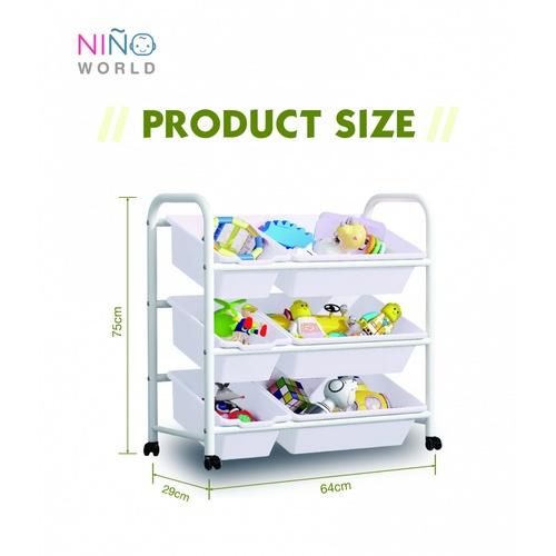 NINO WORLD  ชั้นใส่ของเล่นเด็ก ขนาด  W29xL64xH75 cm. SW002 สีขาว