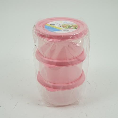 GOME ชุดกล่องอาหารพลาสติกทรงกลม  3 ชิ้น/แพ็ค  ZS3013 160ML. 3