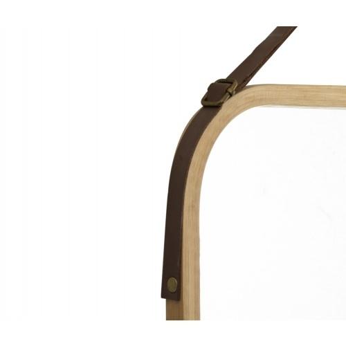 NICE กระจกเงากรอบไม้ สายหนัง แบบเหลี่ยม ขนาด 40.5x33cm.  SXX018