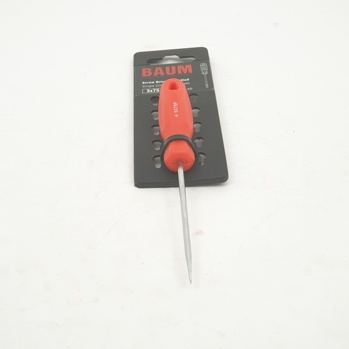 BAUM ไขควงปากแบน ด้ามแดง   314S-3X75 MM