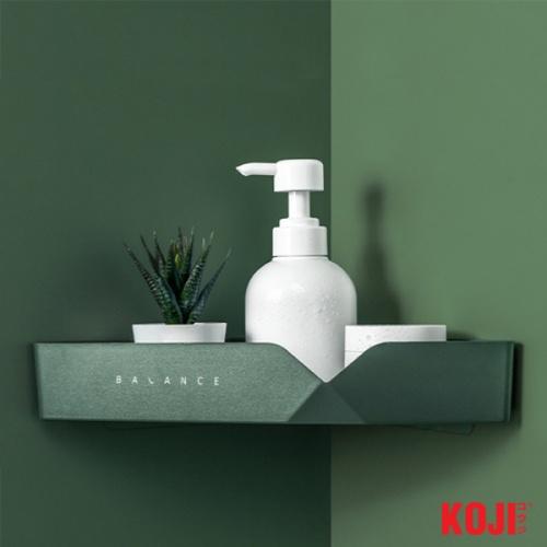 KOJI ชั้นวางอุปกรณห้องน้ำเข้ามุมติดผนัง ขนาด 13.5x30.5x5 cm. 2JYS016-GN สีเขียว