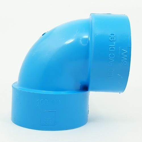 3 เอ ข้องอ90-บาง4(100) - สีฟ้า