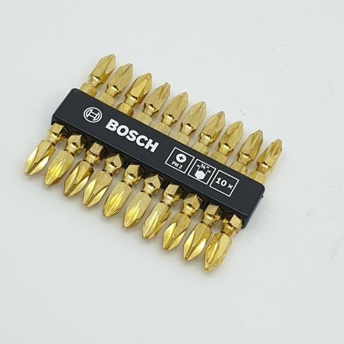 BOSCH ดอกไขควง  ดอกไขควง PH 65 mm. ทอง(10ดอก/แผง) เทา-ขาว