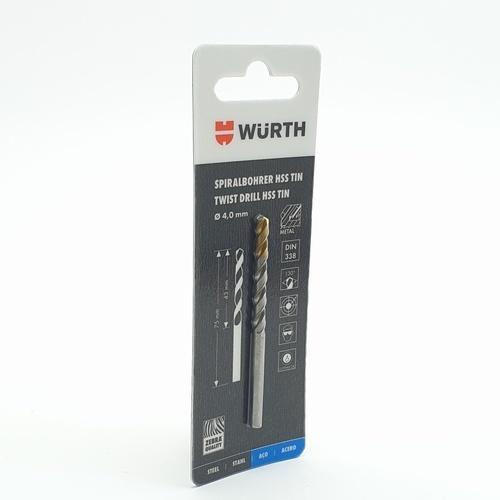 WUERTH ดอกสว่าน เจาะเหล็ก ขนาด 4.0 mm. DIN 338 HSS 4.0 mm.