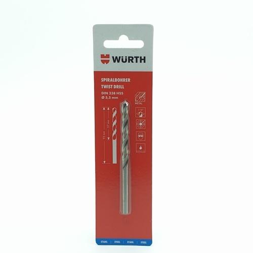 WUERTH ดอกสว่าน เจาะเหล็ก ขนาด 5.5 mm. DIN 338 HSS 5.5 mm.