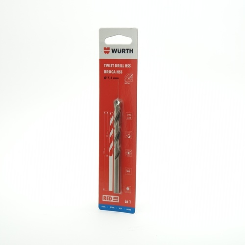 WUERTH ดอกสว่าน เจาะเหล็ก ขนาด 7.5 mm. DIN 338 HSS 7.5 mm.