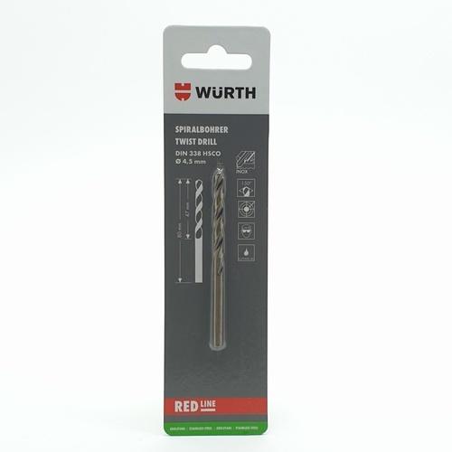WUERTH ดอกสว่าน เจาะสเตนเลส ขนาด 4.5 mm. DIN 338 /HSCO 4.5 mm.