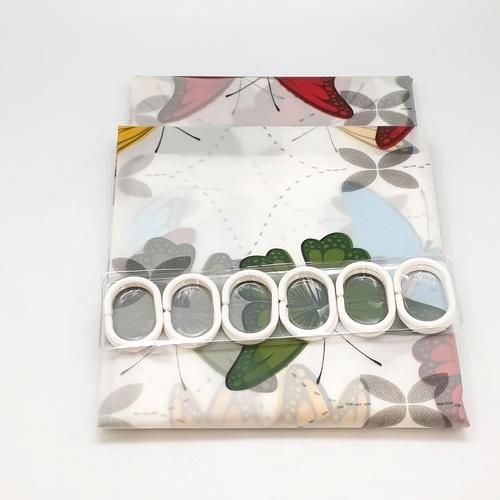 SAKU ผ้าม่านห้องน้ำ ขนาด 180-180 cm HEVA13087 ลายผีเสื้อหลากสี