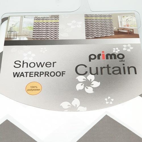 PRIMO ม่านห้องน้ำโพลีเอสเตอร์ คาดเหลือง   DDF001-YL ขนาด 180x180 cm คละสี