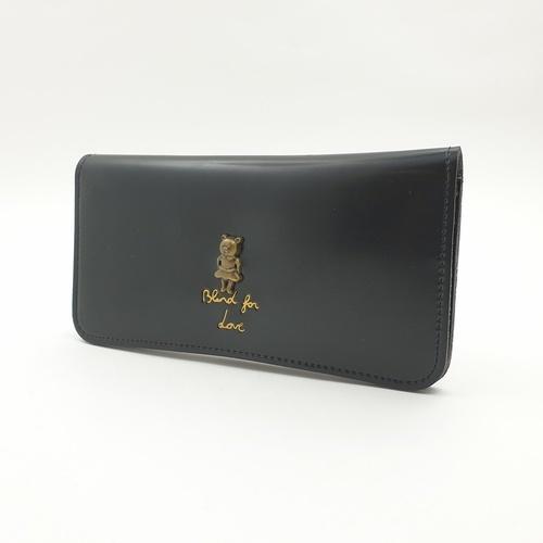 USUPSO กระเป๋าหนังผู้หญิง แบบยาว  Vintage  สีดำ