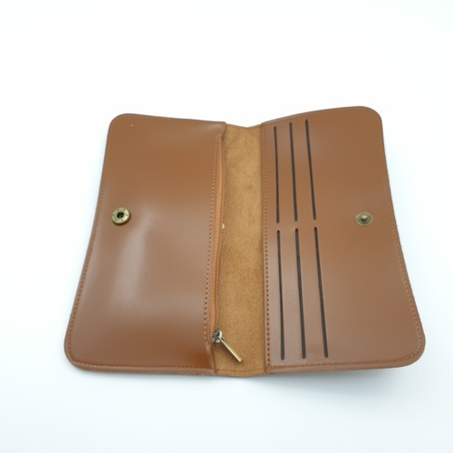 USUPSO กระเป๋าหนังผู้หญิง แบบยาว  Vintage สีน้ำตาล