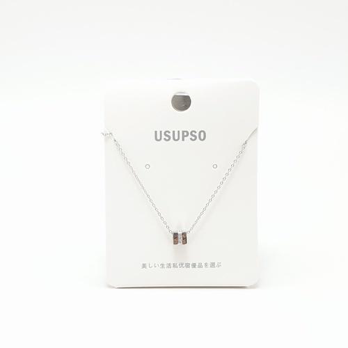 USUPSO USUPSO สร้อยคอแฟชั่น จี้ทรงเหลี่ยม (#E)  ขาว