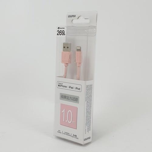 USUPSO สายดาต้าชาร์จ Apple ยาว 1 เมตร - สีชมพู
