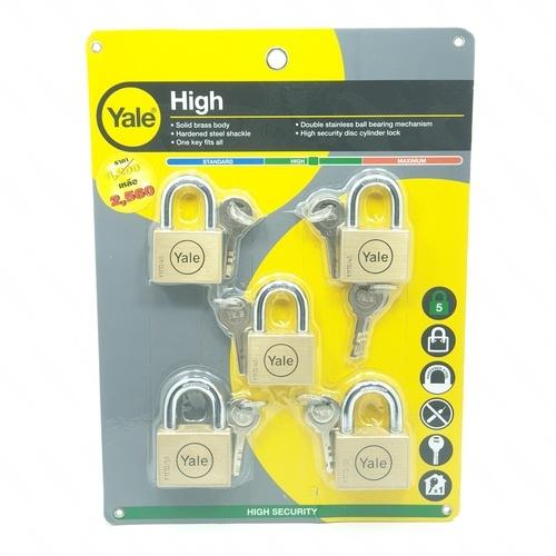 YALE กุญแจคล้องสายยู Y117D/45-50/SS/5MK ทองเหลือง
