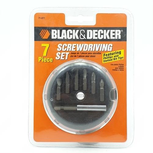 BLACK AND DECKER ตลับดอกไขควง 7 ชิ้น 71-077G สีโครเมี่ยม