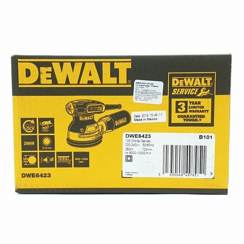 DeWALT เครื่องขัดกระดาษทรายแบบกลม DWE6423-B1  สีเหลือง