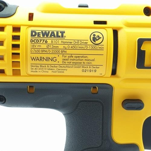 DeWALT สว่านกระแทกไร้สาย 18V.  DCD776C2A-B1 สีเหลือง