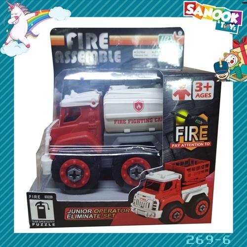 Sanook&Toys ของเล่นรถขนน้ำกู้ภัย DIY #269-6 (9.7x16x14ซม.) สีแดง