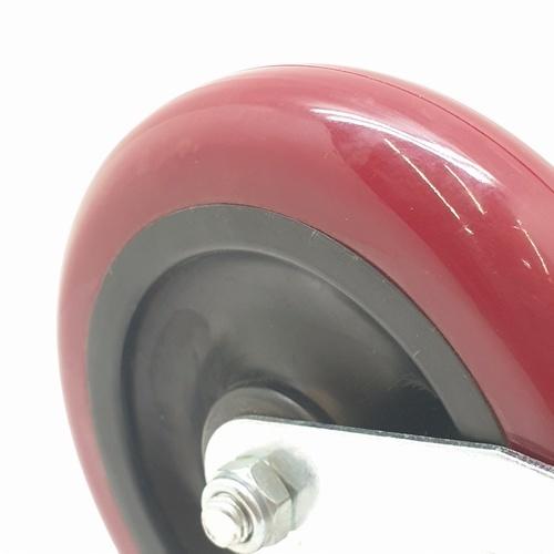 KAMPER ล้อ PU แป้นตาย 3042-125 สีแดง