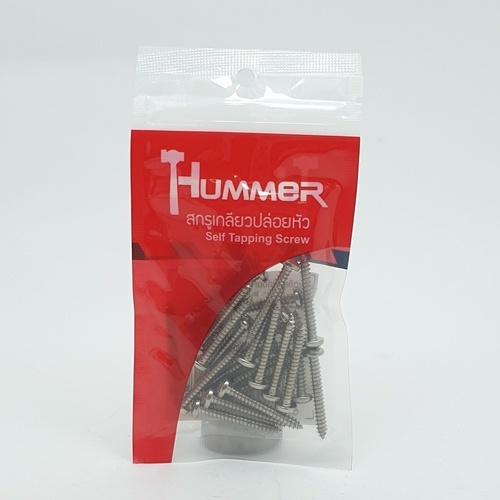 HUMMER สกรูเกลียวปล่อยหัว 8X1-1/4นิ้ว (25ตัว/แพ็ค) P-HM8114 สีโครเมี่ยม