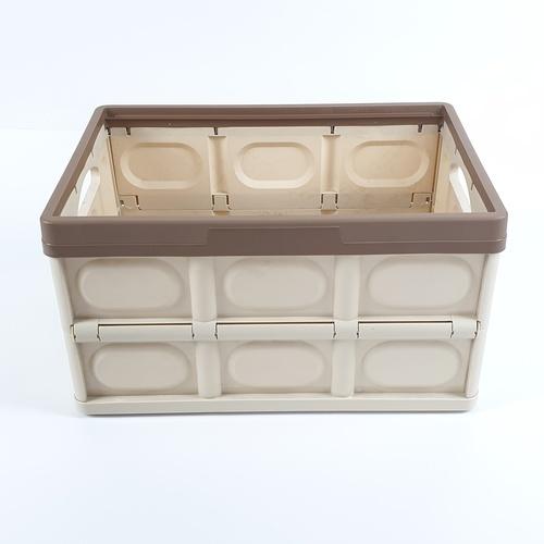 GOME กล่องเก็บของพับเก็บได้ พร้อมฝาปิด 30ลิตร ขนาด30*43*23ซม. TZ03 สีน้ำตาลอ่อน