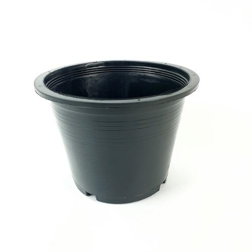 กระถางพลาสติกดำปากตรง 11 นิ้ว ดำ