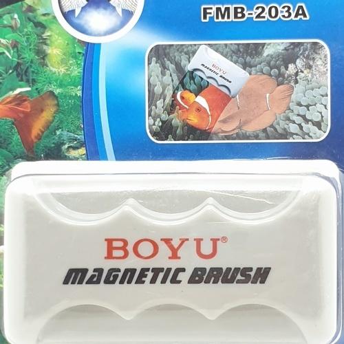 BOYU แปรงแม่เหล็กทำความสะอาดตู้ปลา FMB-203A สีขาว