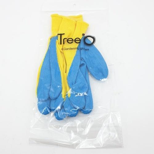 Tree O ถุงมือเคลือบยาง  ZBST014 สีฟ้า-เหลือง