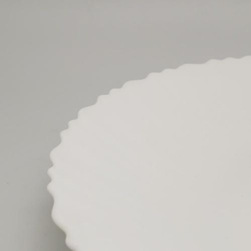 ADAMAS จานโอปอลขอบริ้ว ขนาด 10 นิ้ว HBQP100 ขาว