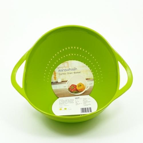 FUJIKA ตะแกรงล้างผัก ขนาด 27.5*22*14.5ซม. A0234-GN สีเขียว