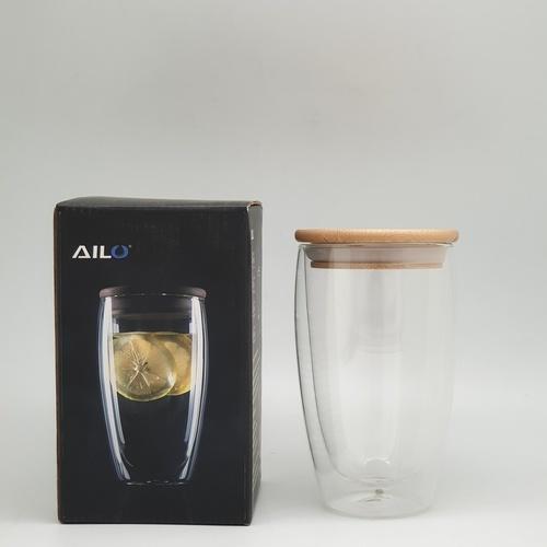 AILO แก้วใสสองชั้น พร้อมฝาไม้ปิด 450 ml.   XXL003