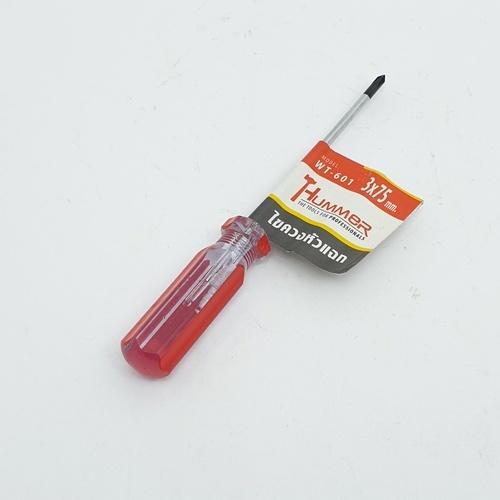HUMMER ไขควงปากแฉกหัวแม่เหล็ก ขนาด3x75มม.  รุ่น WT-601 สีแดง